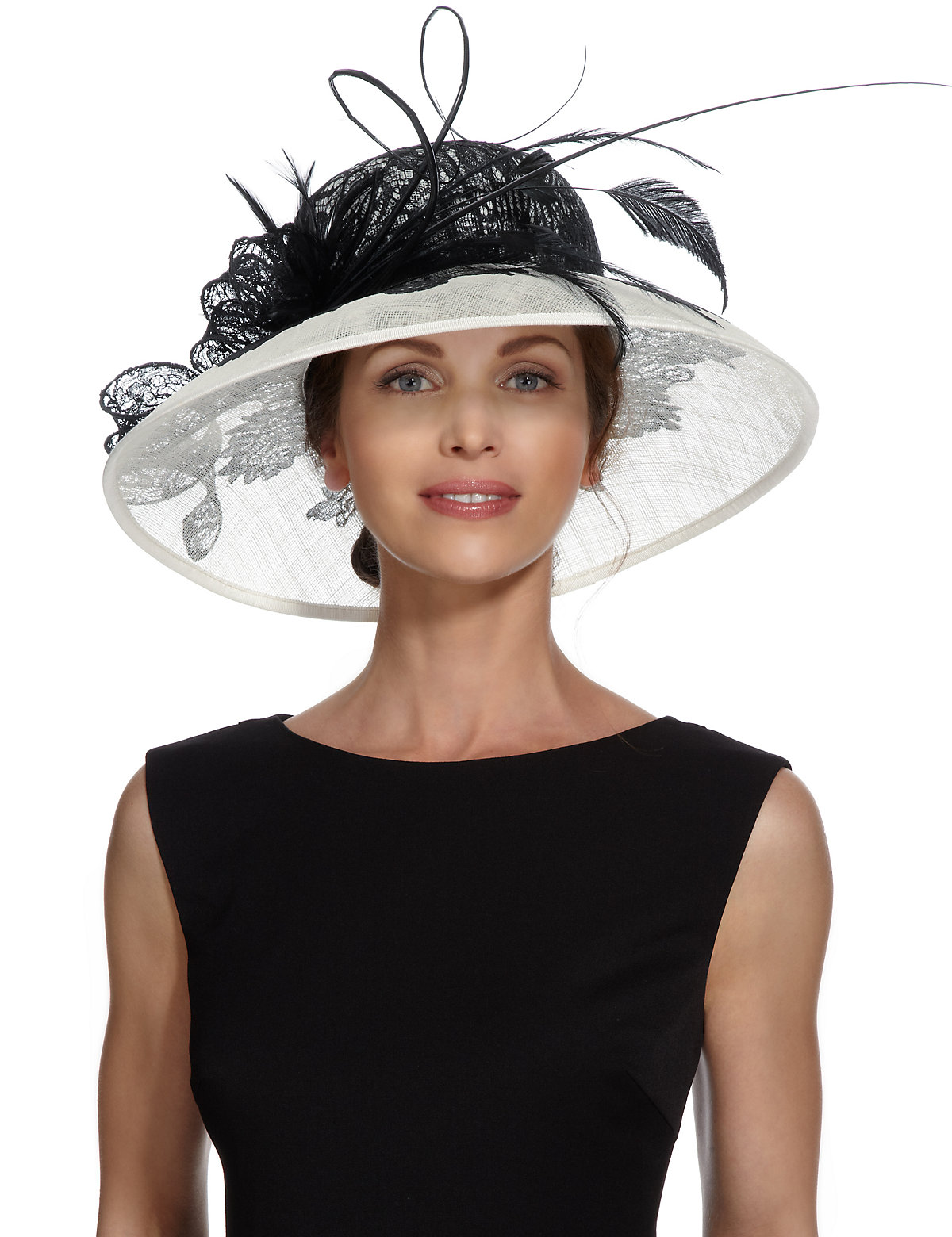 MS Collection Feather  Mesh Lace Swirl Hat £89.00 AT vintagedancer.com
