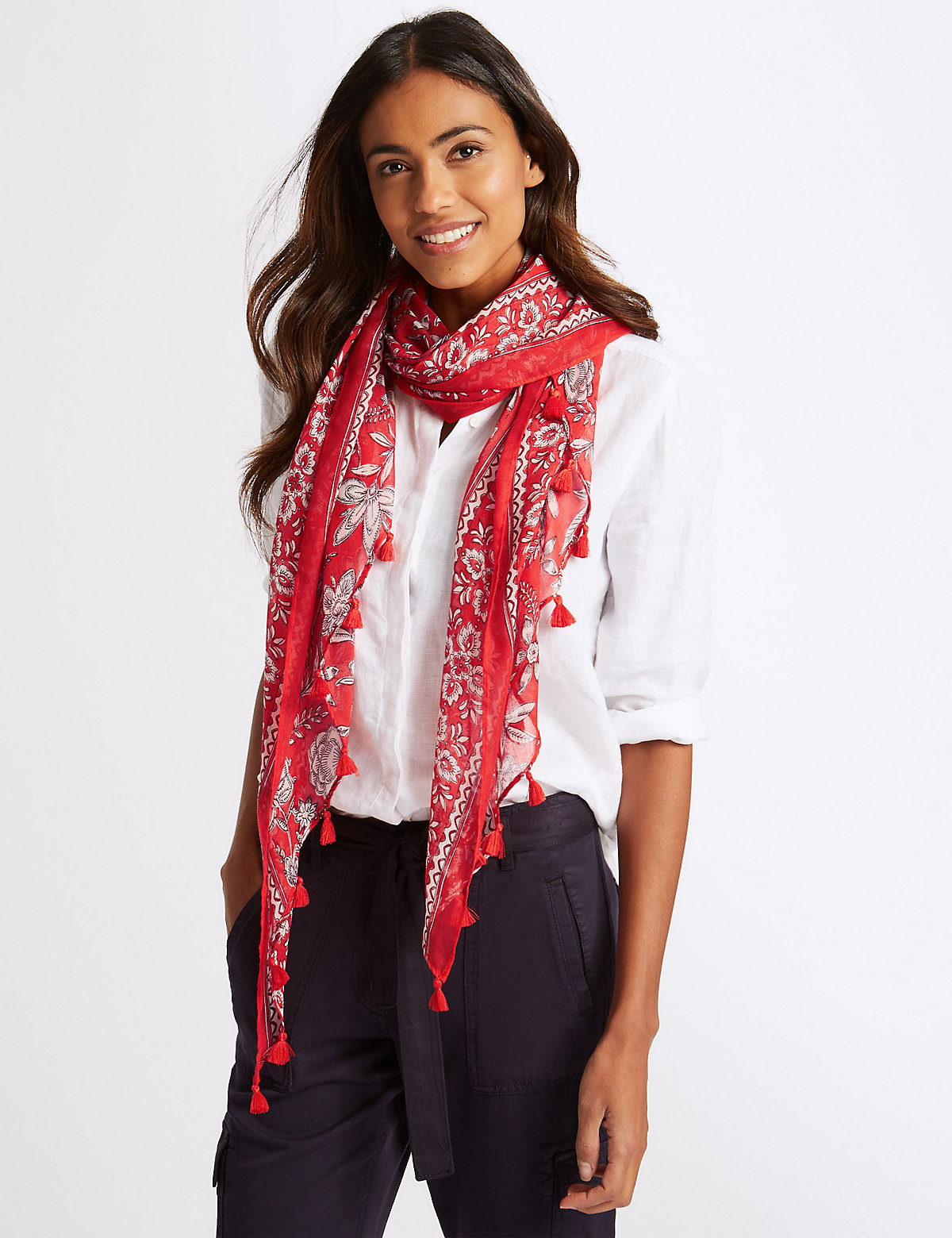 Image of M&S Collection Floral Print Tassel Scarf