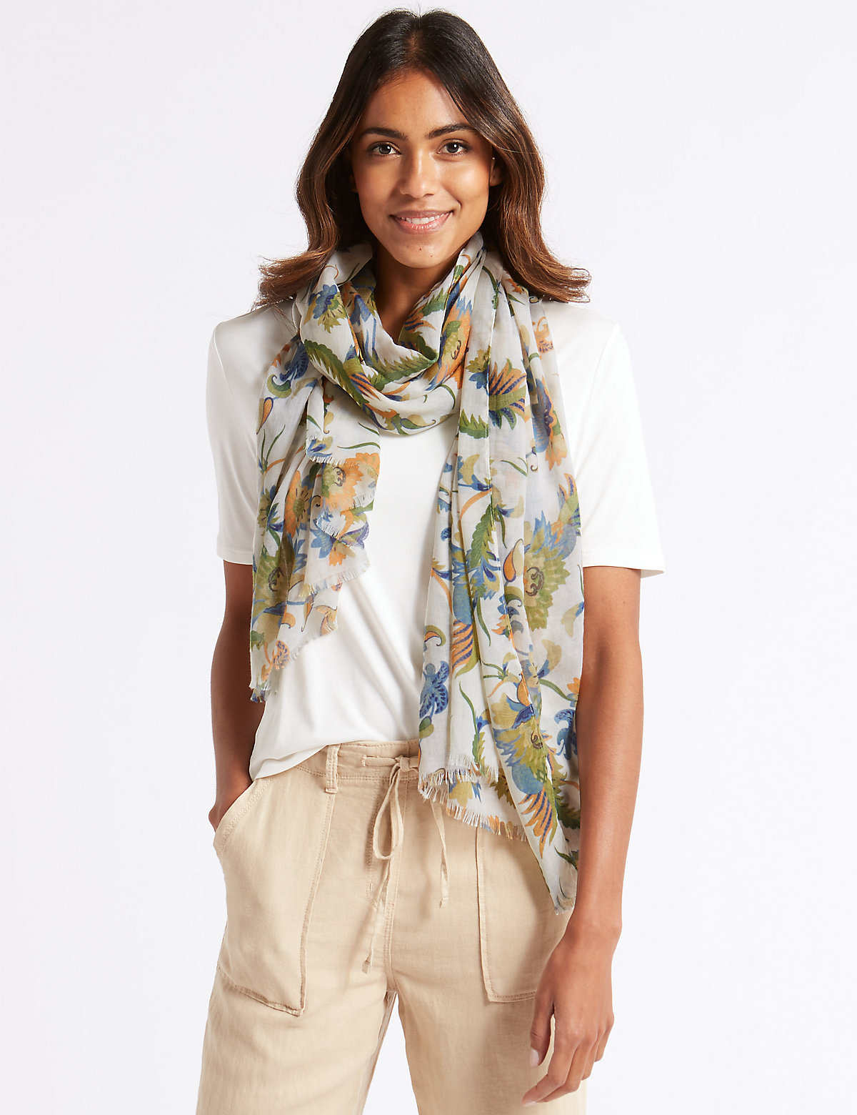 Image of M&S Collection Floral Print Paisley Scarf