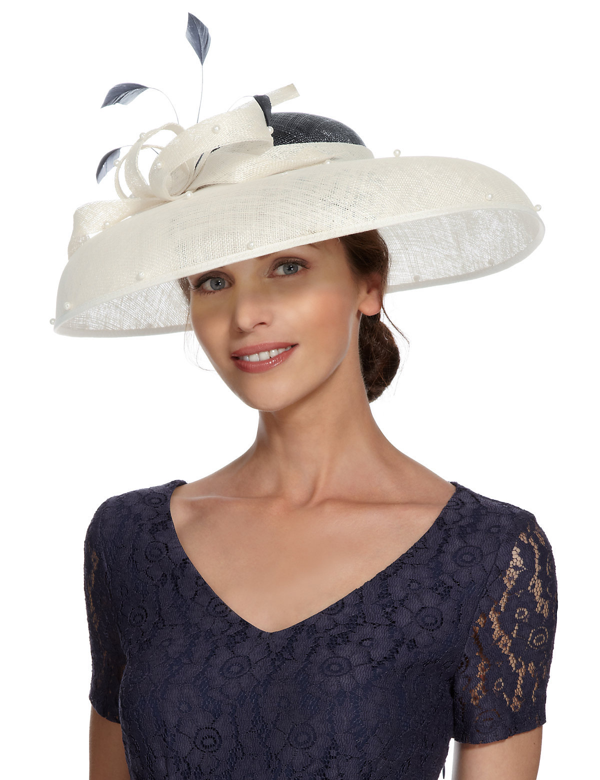 M  S Collection Pearl Effect Feather Fascinator $79.00 AT vintagedancer.com