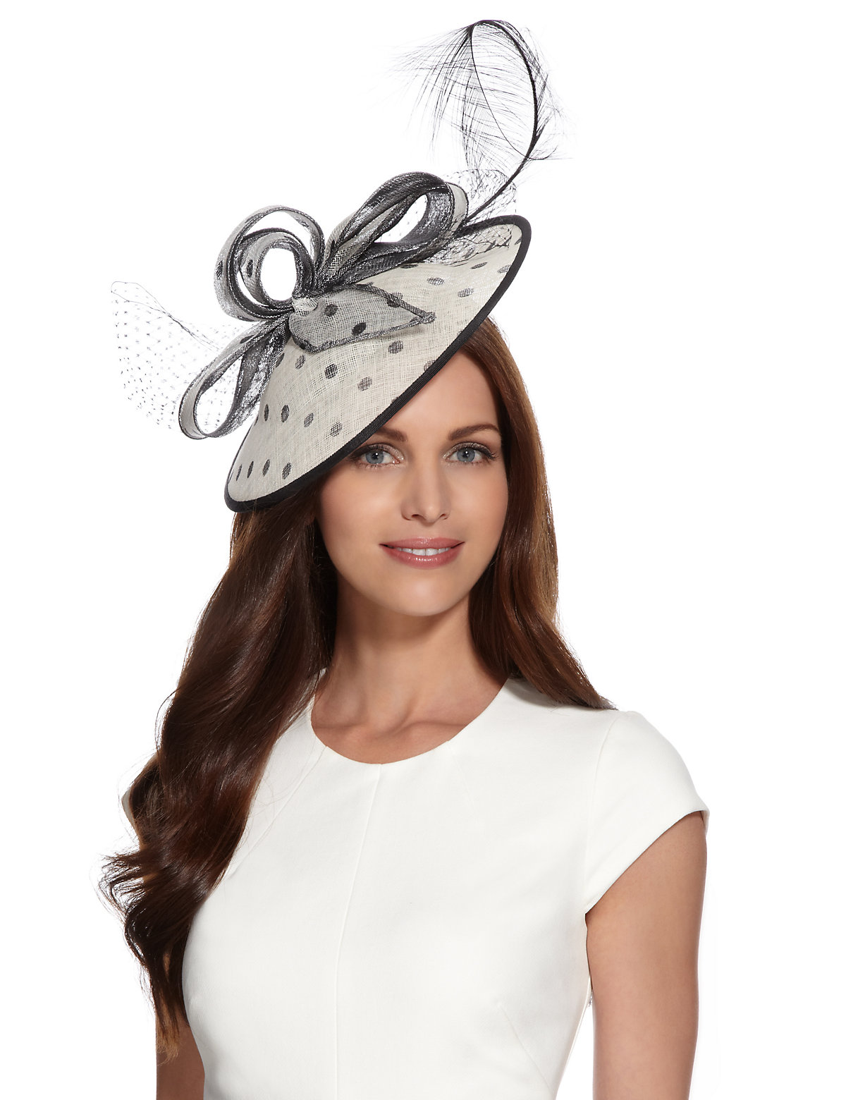 M  S Collection Feather  Bow Spotted Mesh Fascinators $69.00 AT vintagedancer.com