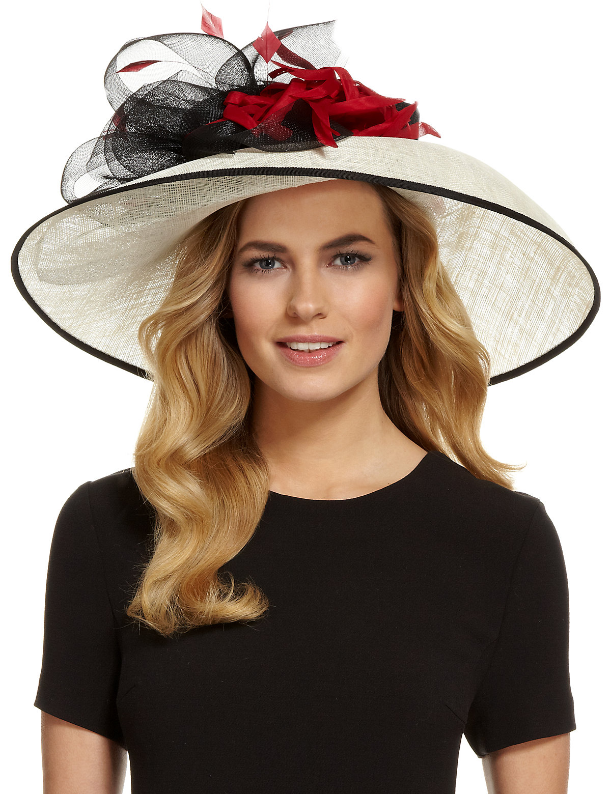 M  S Collection Faux Feather Large Bow Hat $89.00 AT vintagedancer.com