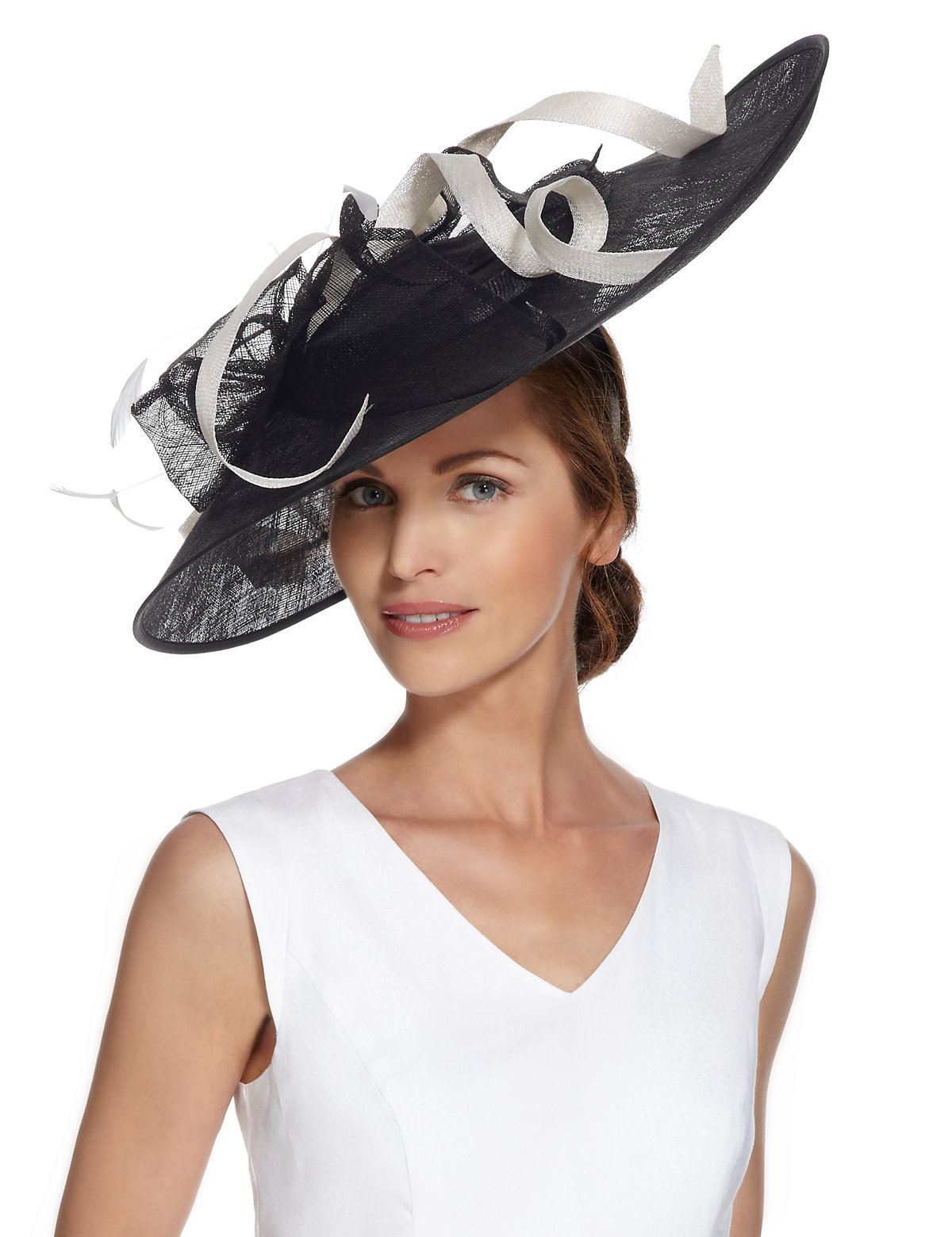 M  S Collection Faux Feather and Swirl Fascinator $89.00 AT vintagedancer.com