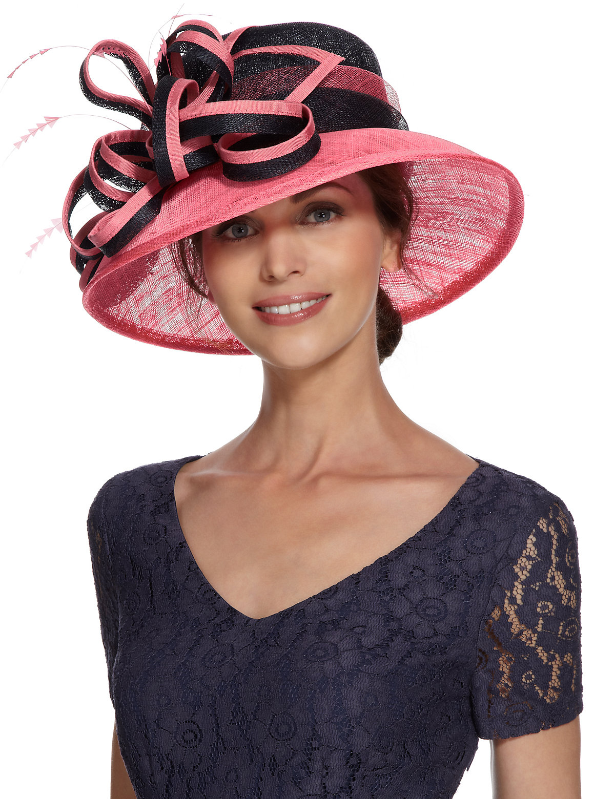 M&S Collection Faux Feather & Swirl Design Hat