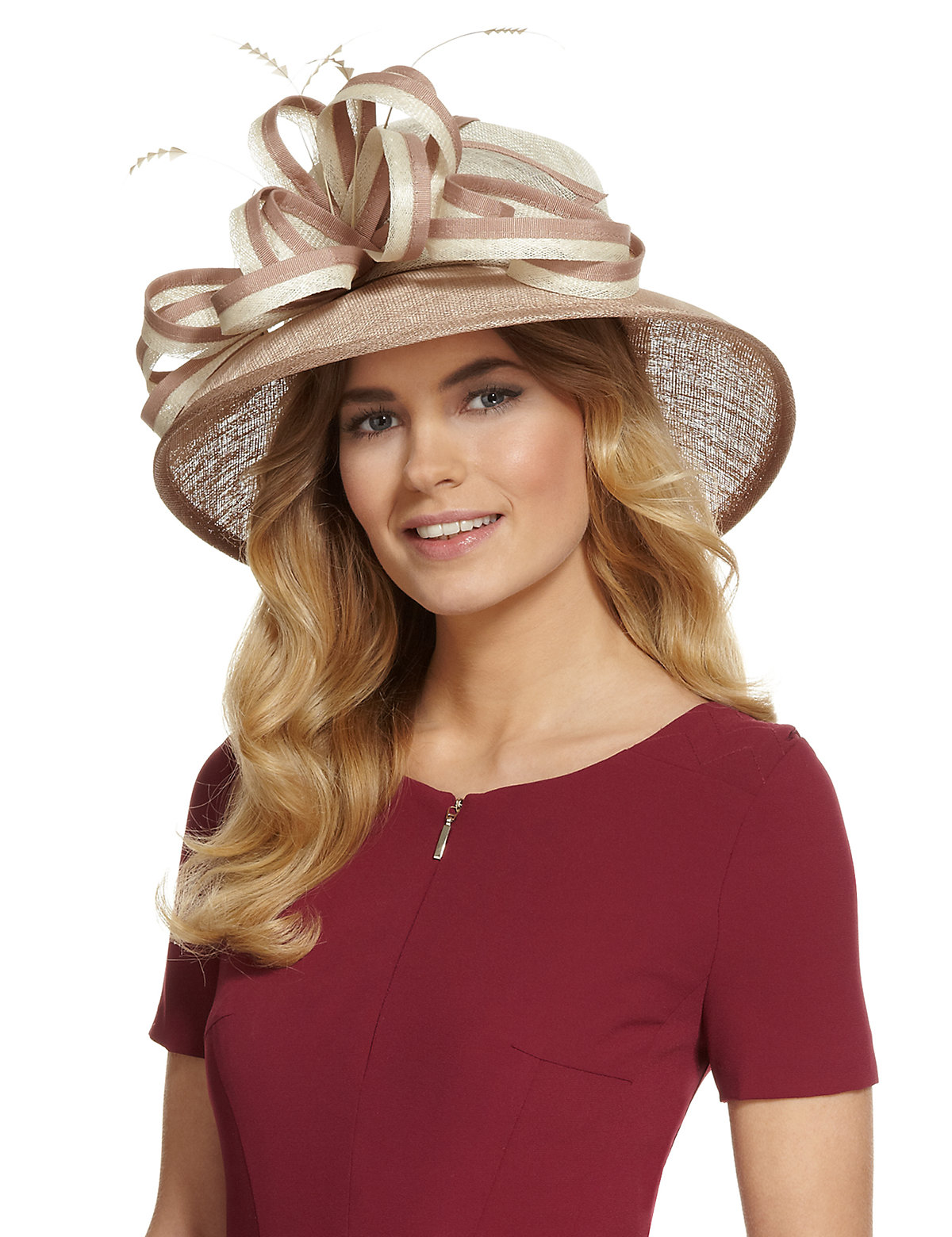 M  S Collection Faux Feather  Swirl Design Hat $69.00 AT vintagedancer.com