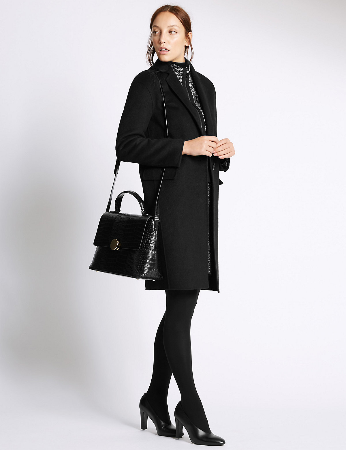 M&S Collection Faux Leather Turn-Lock Tote Bag