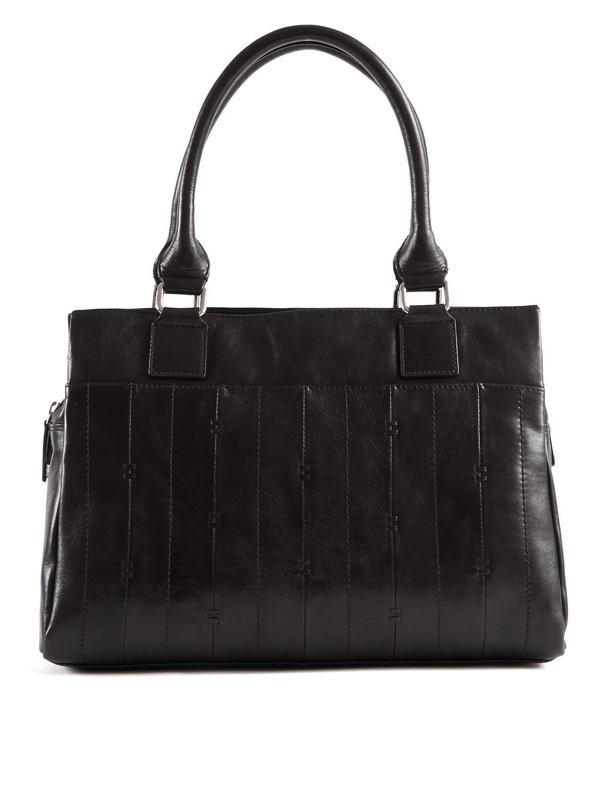 M&S Collection Leather Double Stitch Tote Bag