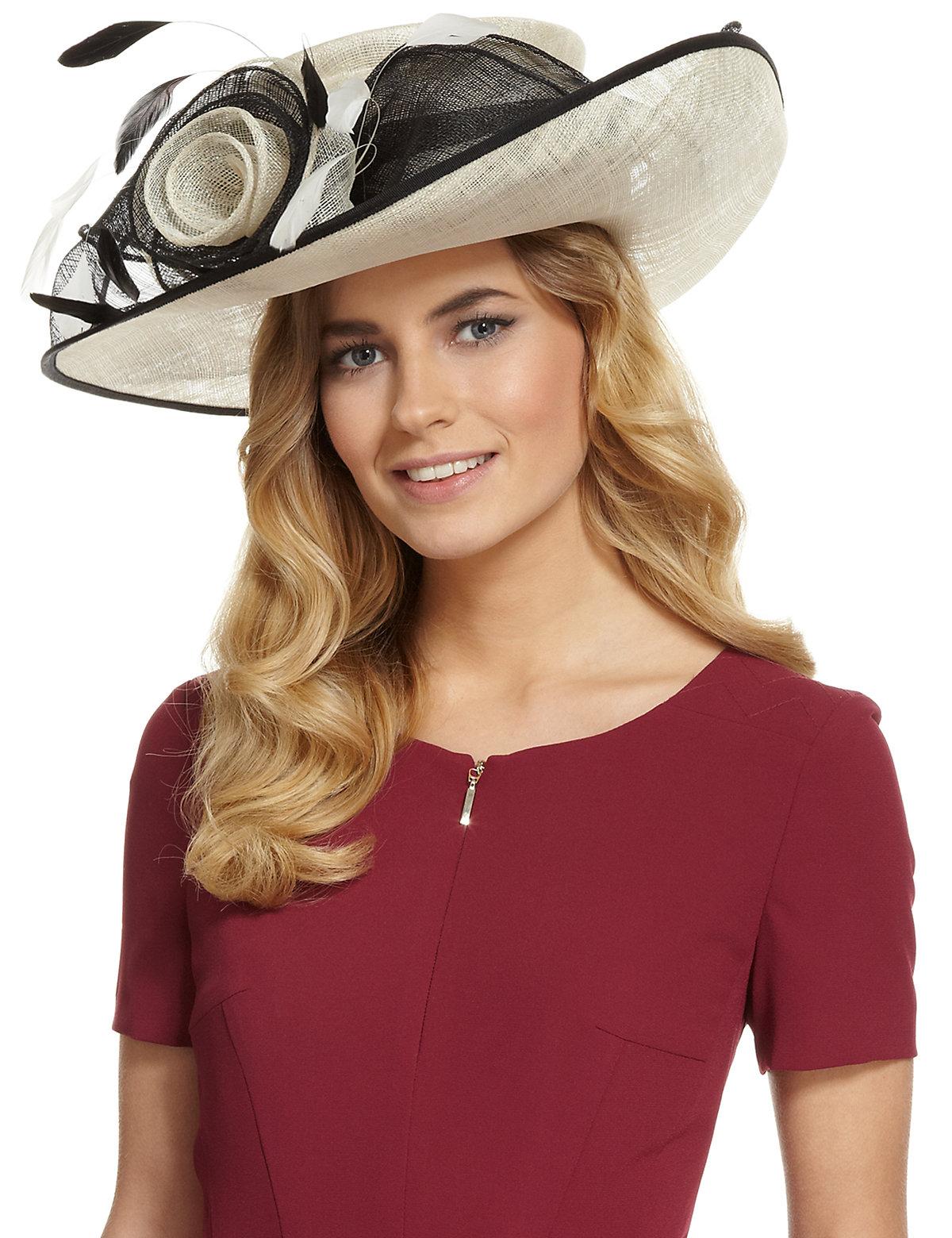 MS Collection Big Rose  Mesh Wide Brim Hat £89.00 AT vintagedancer.com
