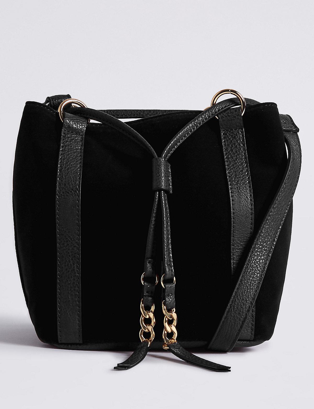 M&S Collection Velvet Drawstring Duffle Bag