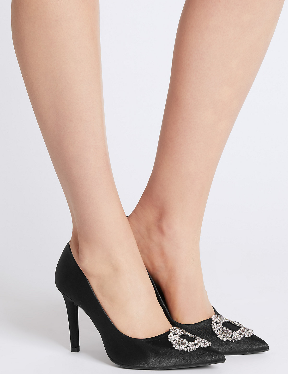 M&S Collection Stiletto Heel Trim Pointed Court Shoes.