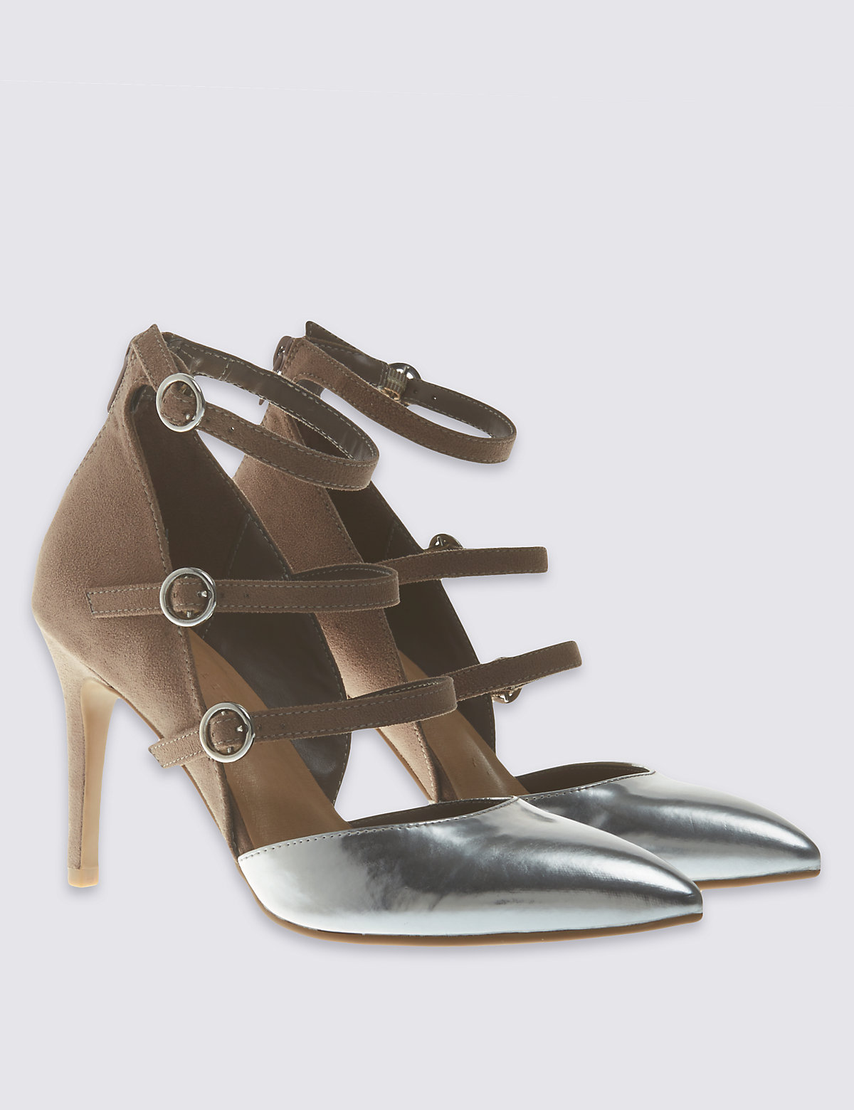 M&S Collection Multi Strap Pointed Court Shoes with Insolia