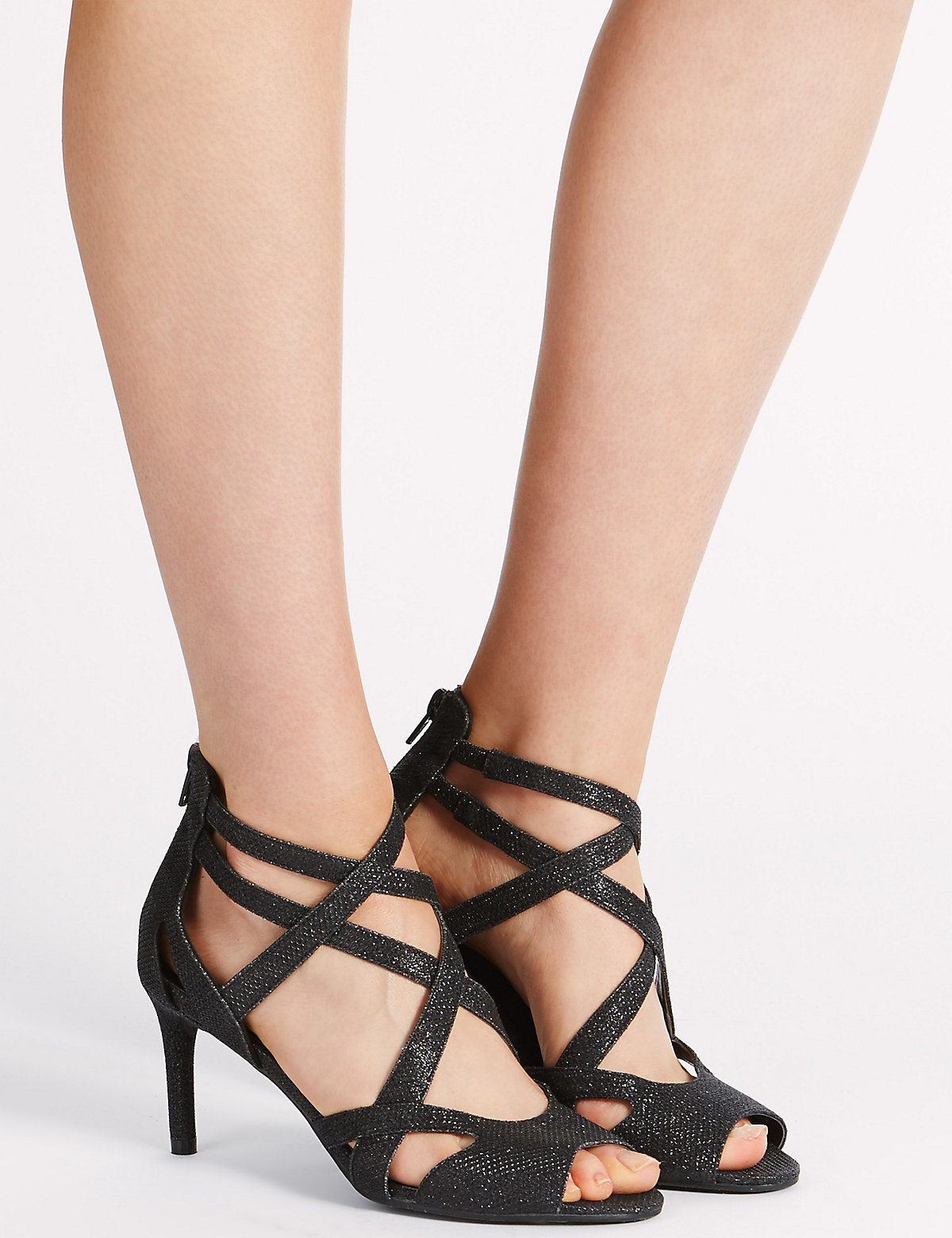 M&S Collection Stiletto Mid Heel Cage Sandals with Insolia