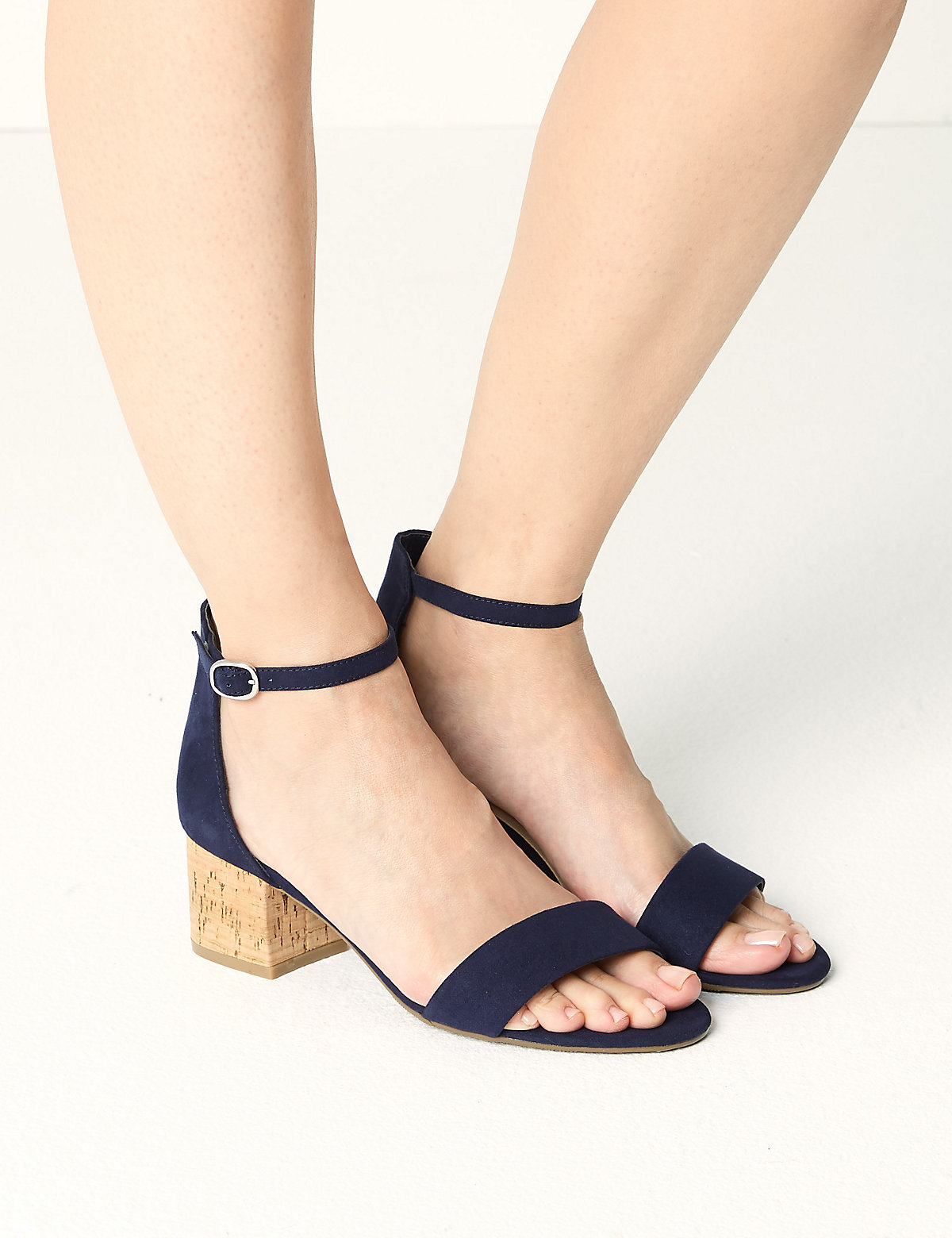 Image of M&S Collection Wide Fit Block Heel Two Part Sandals