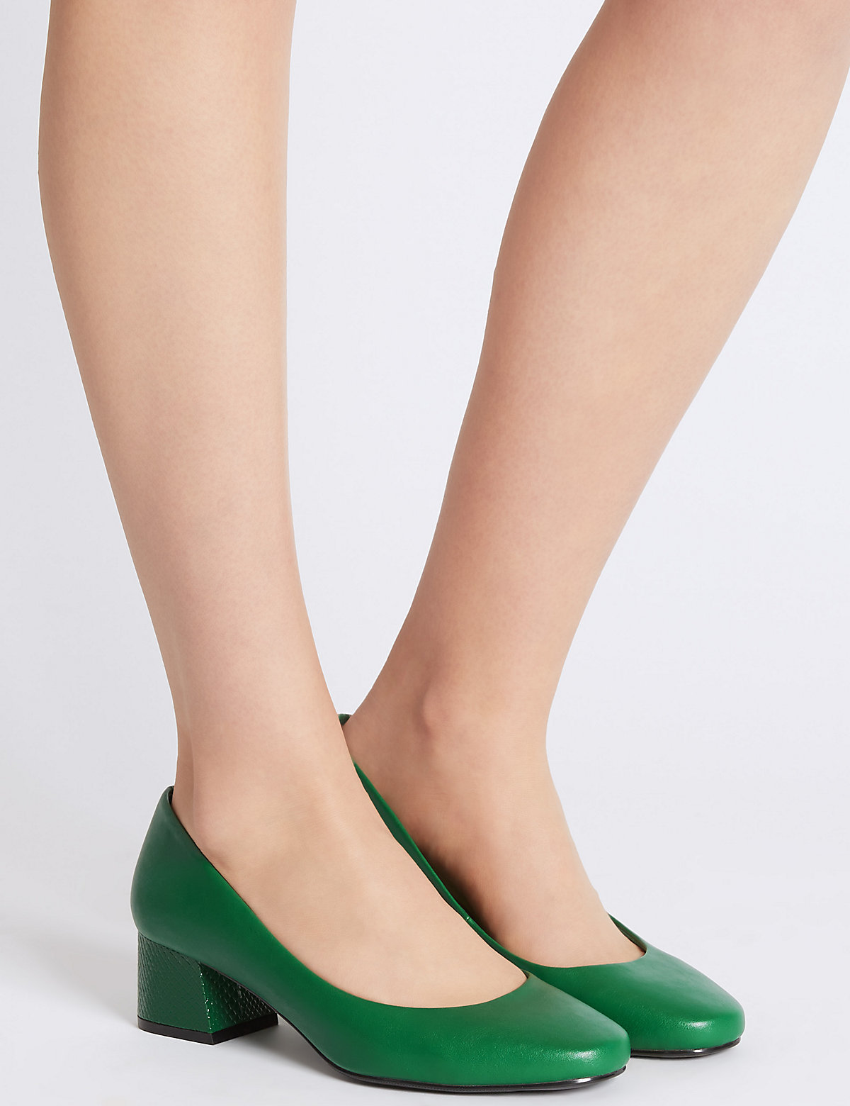 Image of M&S Collection Wide Fit Block Heel Court Shoes