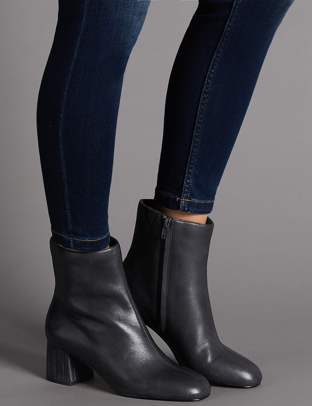 Autograph Leather Block Heel Ankle Boots