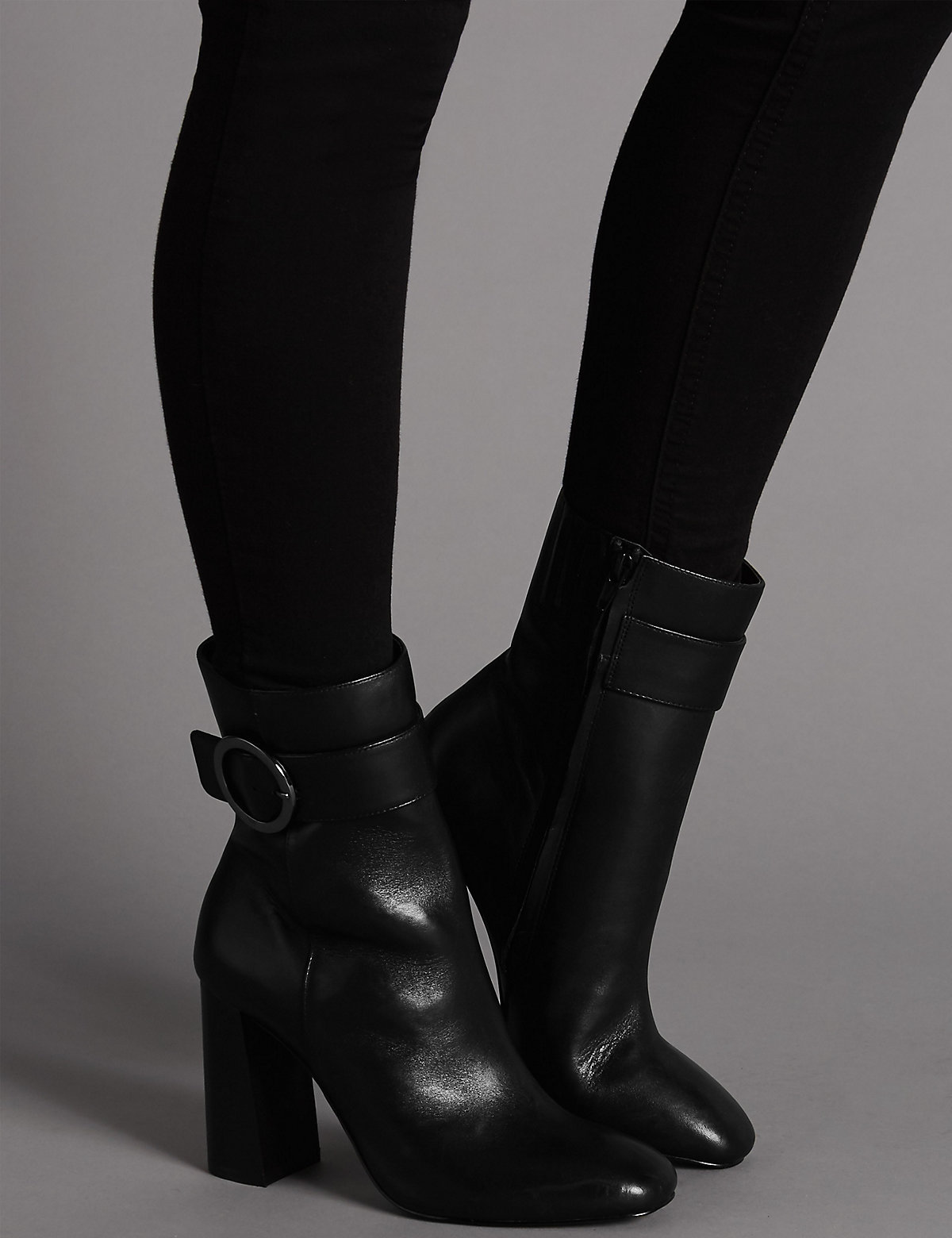 Autograph Leather High Ring Ankle Boots with Insolia