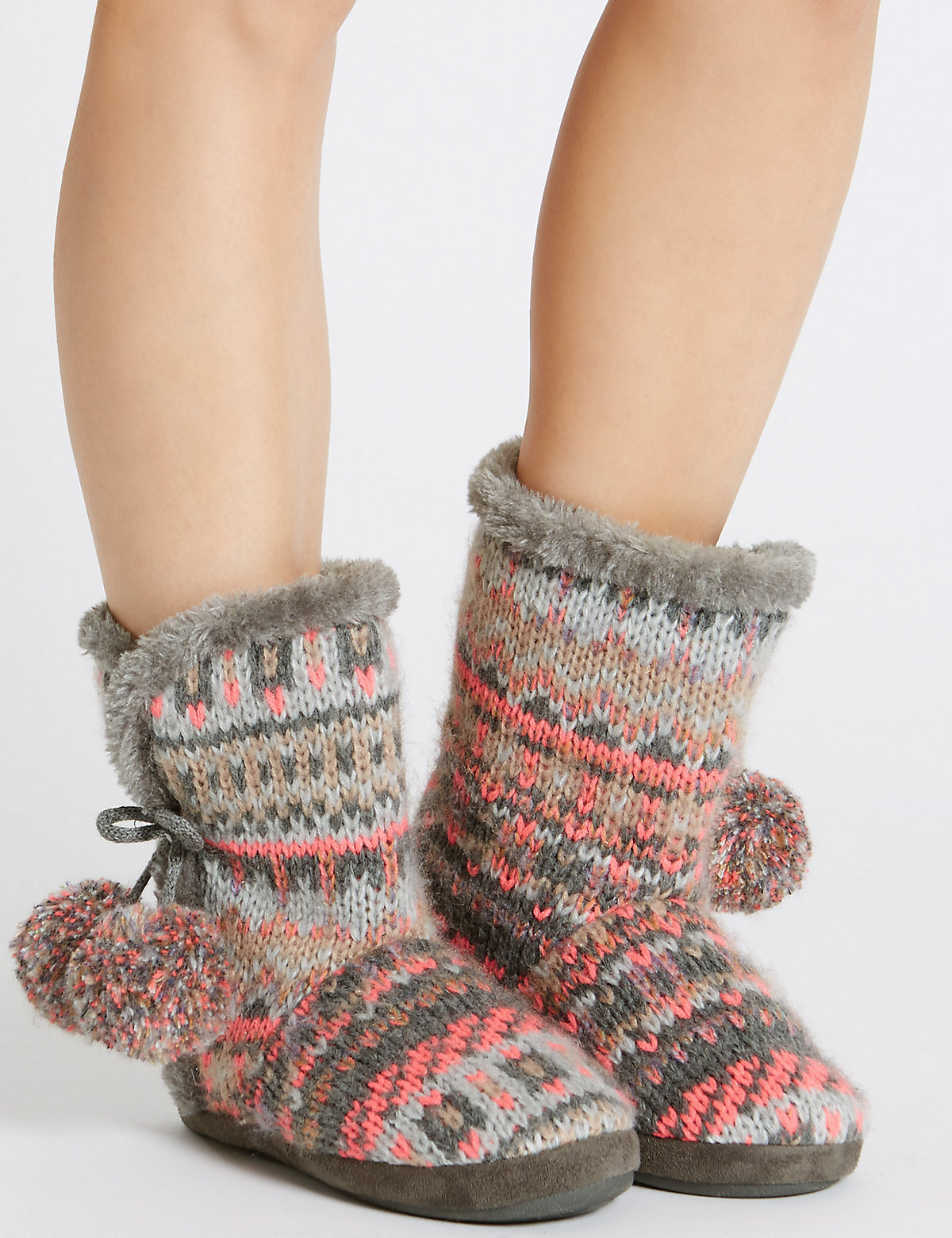 M&S Collection Pull On Fairisle Slipper Boots