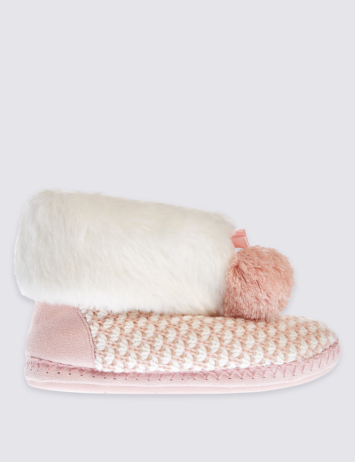 M&S Collection Geo Knitted Slipper Boots