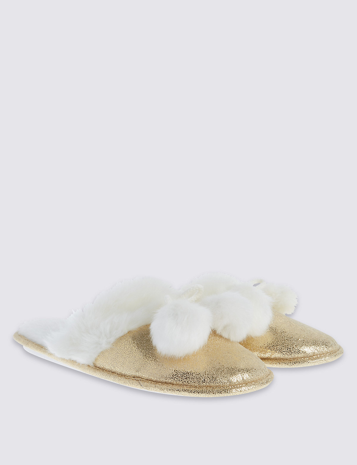 M&S Collection Pompom Knit Mule Slippers
