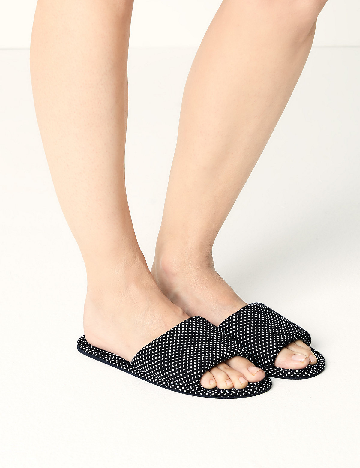 M&S Collection Open Toe Spotted Mule Slippers