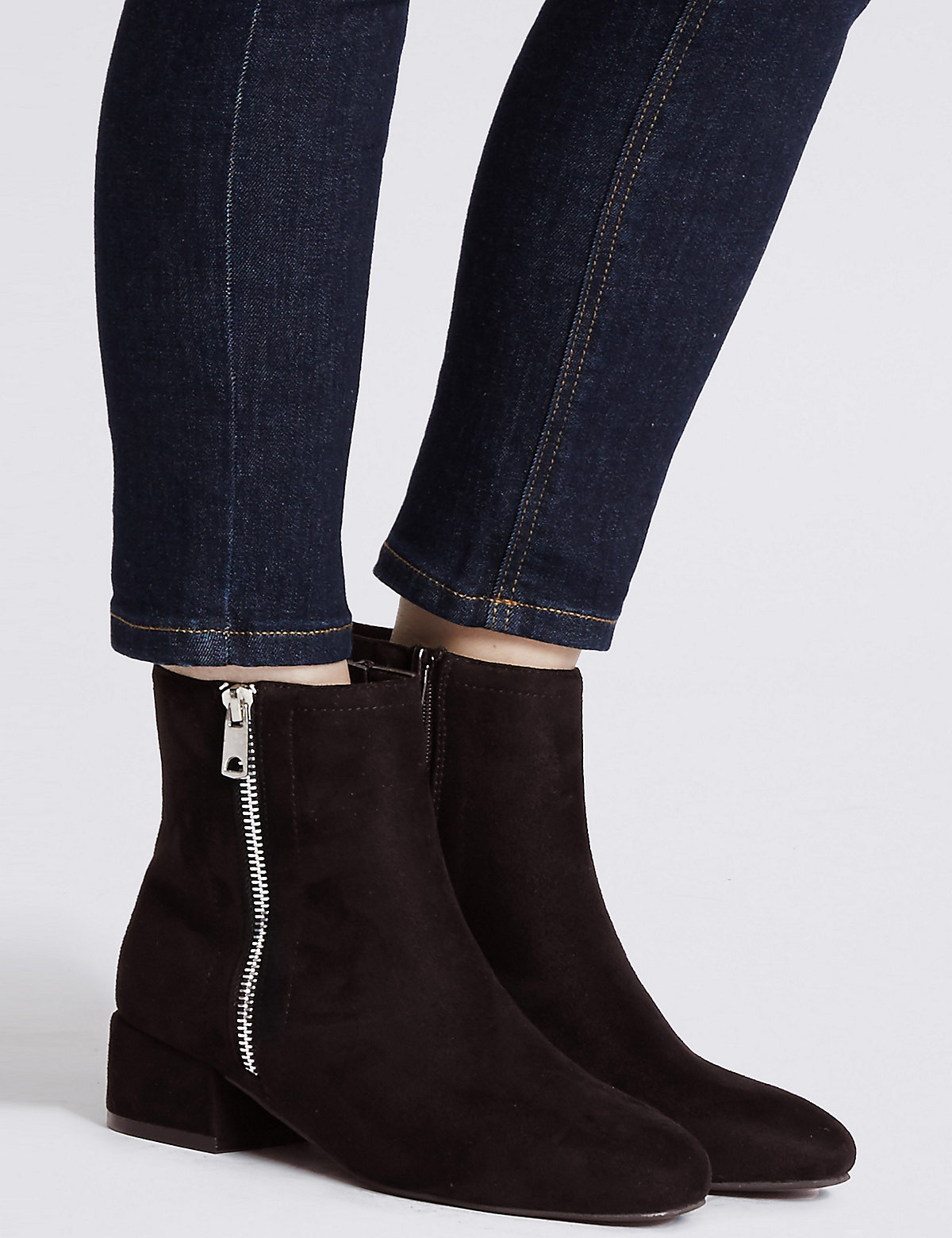 Image of M&S Collection Block Heel Side Zip Ankle Boots