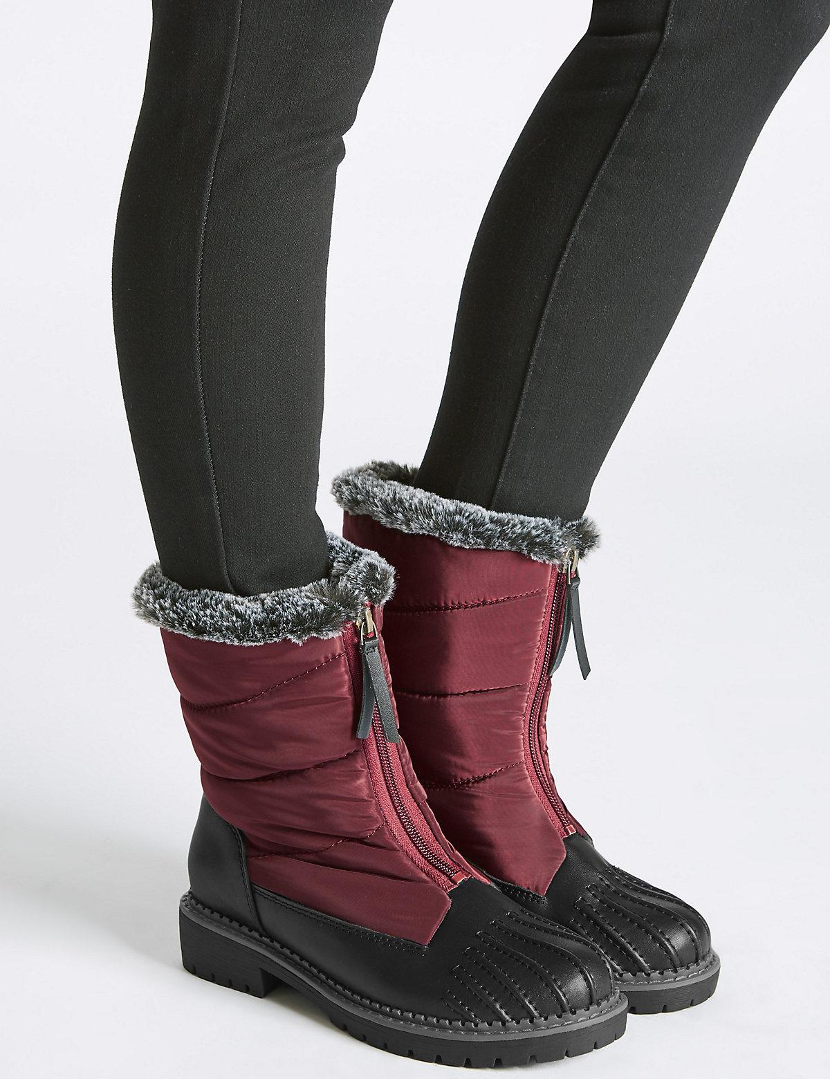 M&S Collection Waterproof Block Heel Front Zip Ankle Boots