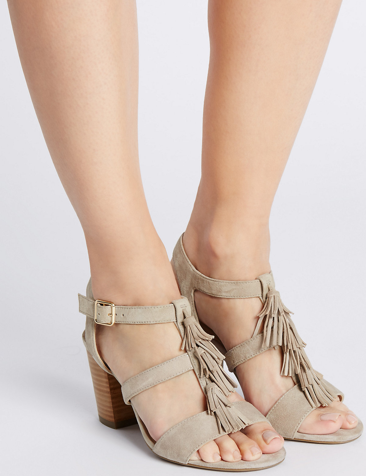 Footglove Suede Angular Heel Tassel Sandals