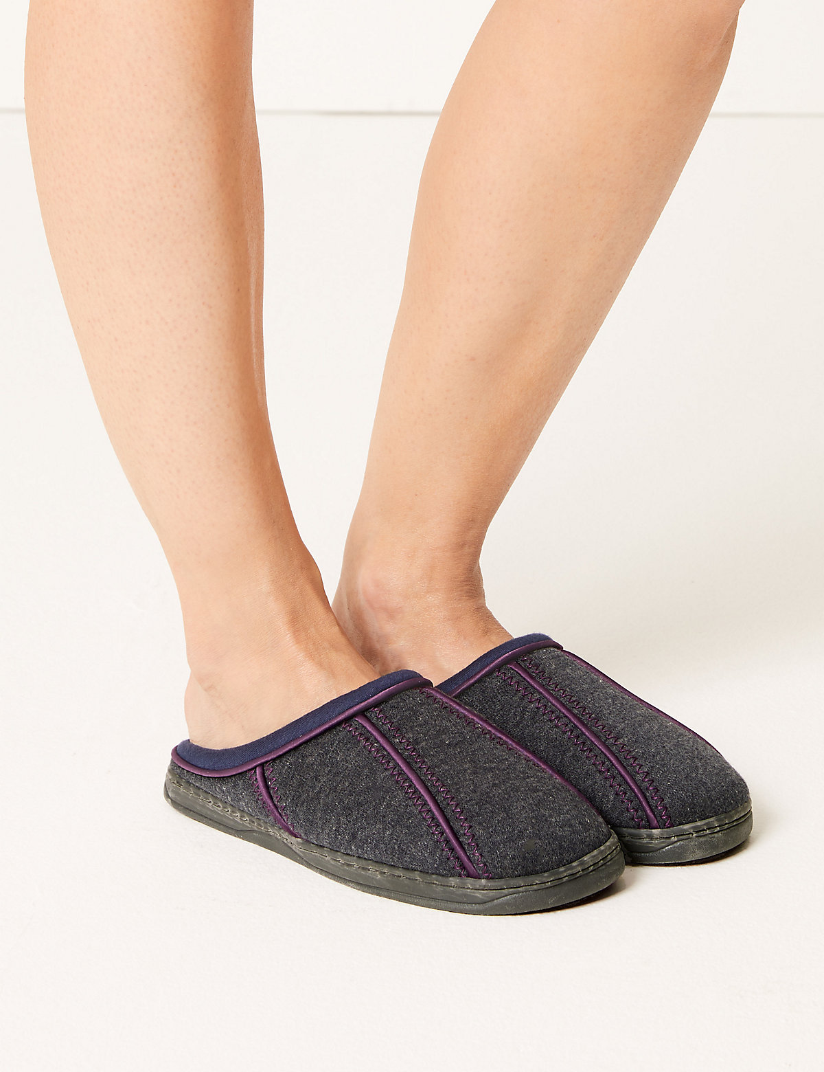 M&S Collection Secret Support Panelled Mule Slippers