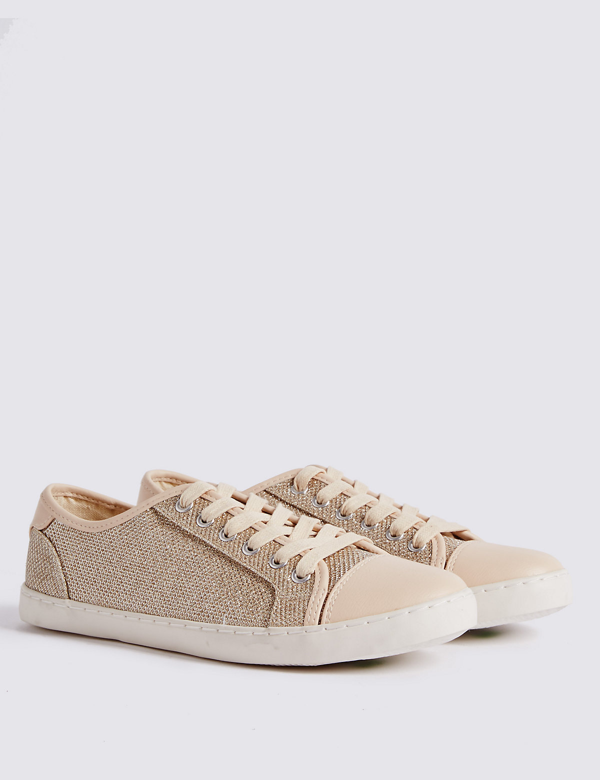 M&S Collection Lace-up Glitter Toe Cap Trainers