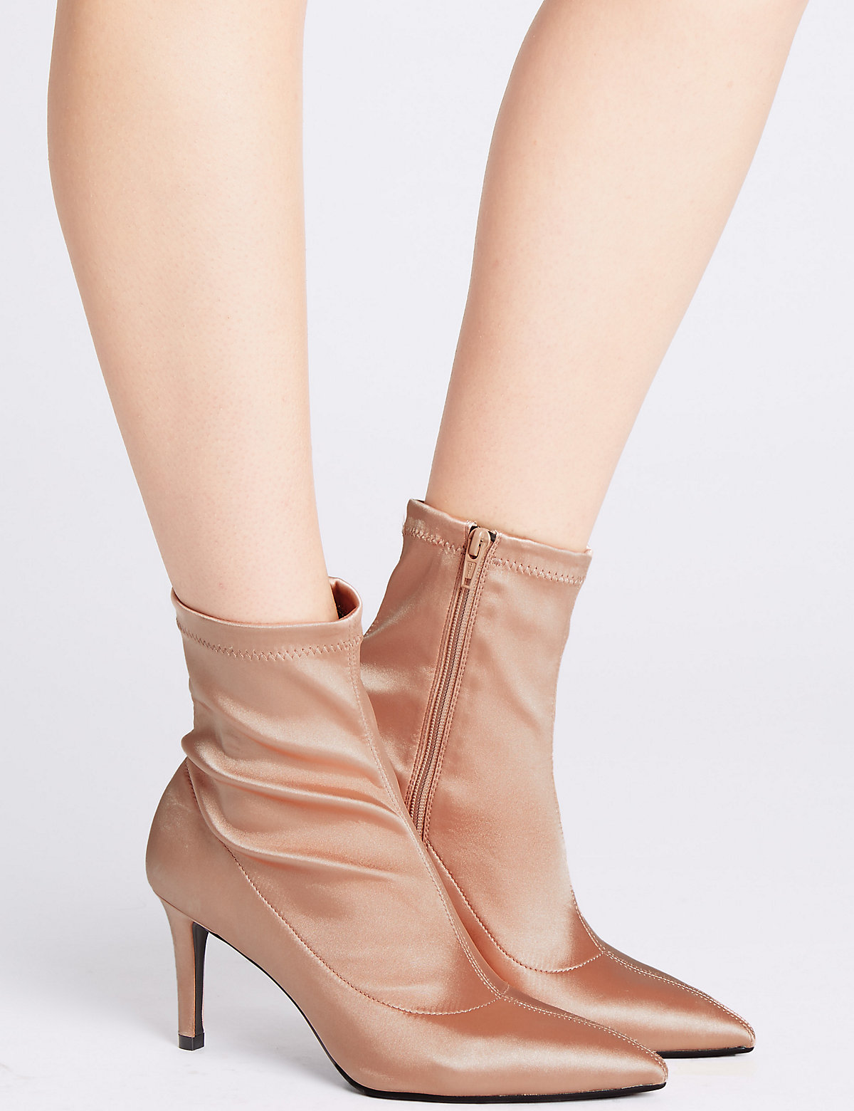 M&S Collection Stiletto Heel Side Zip Stretch Ankle Boots