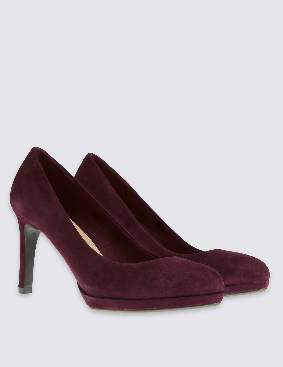M&S Collection Stain Away Suede Wide Fit Suede High Heel Court Shoes with Insolia