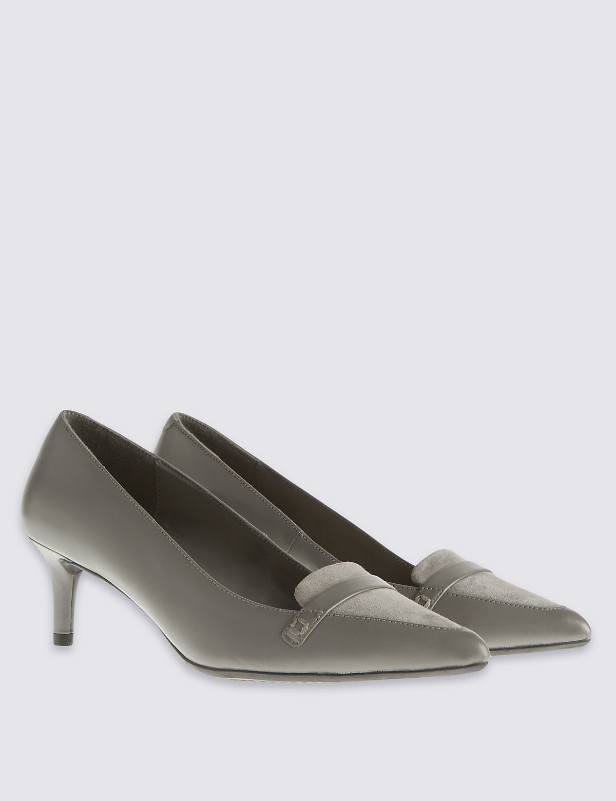M&S Collection Leather Pointed Court Shoes with Insolia Flex