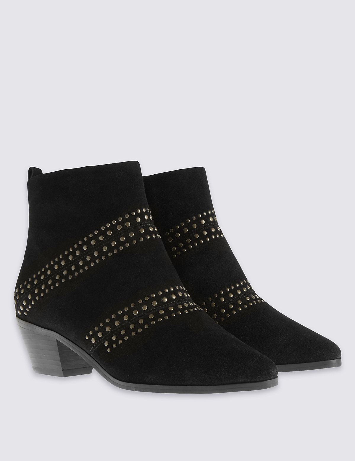 M&S Collection Wide Fit Suede Stud Ankle Boots with Insolia