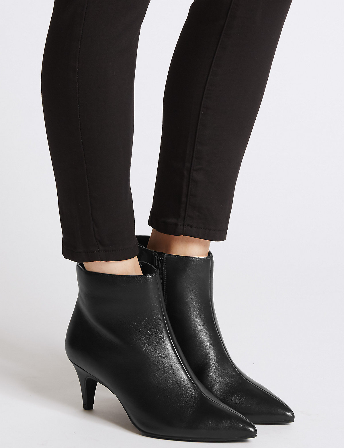 M&S Collection Wide Fit Suede Kitten Ankle Boots