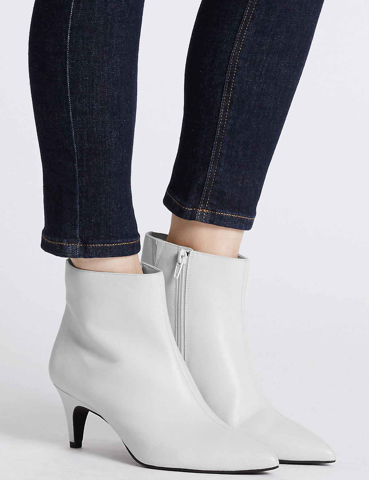 M&S Collection Wide Fit Leather Kitten Ankle Boots.