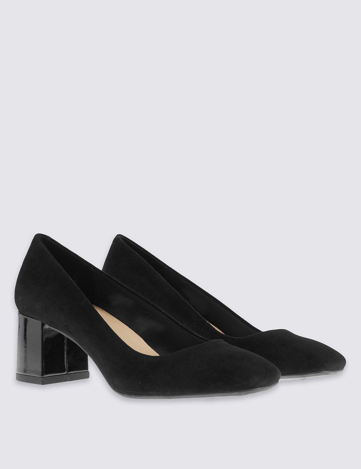 M&S Collection Stain Away Suede Square Toe Block Heel Court with Insolia