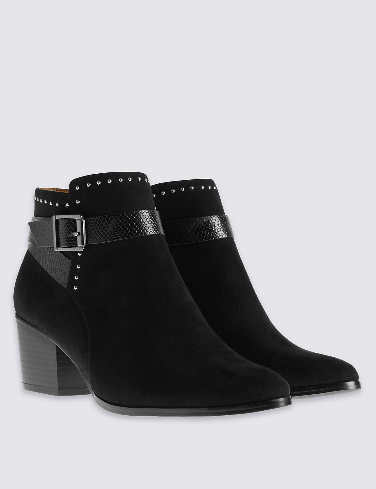 M&S Collection Wide Fit Stud Western Ankle boots with Insolia