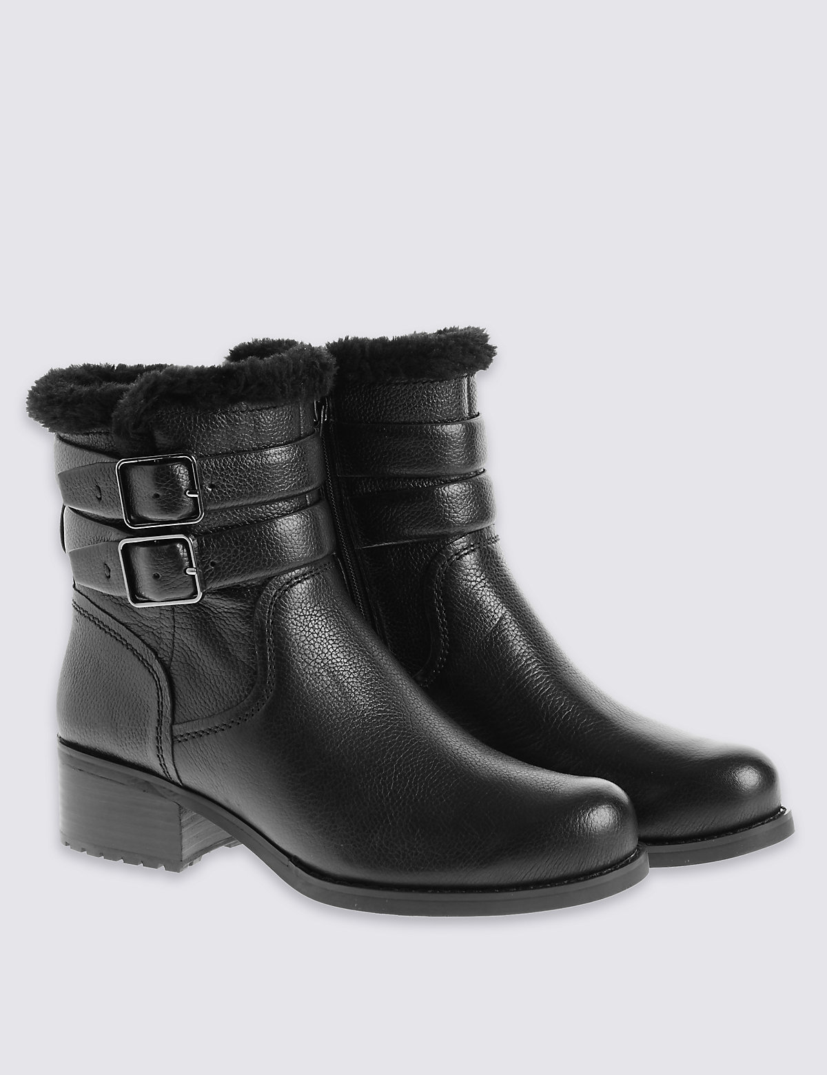 M&S Collection Leather Fur Biker Ankle Boots with Insolia
