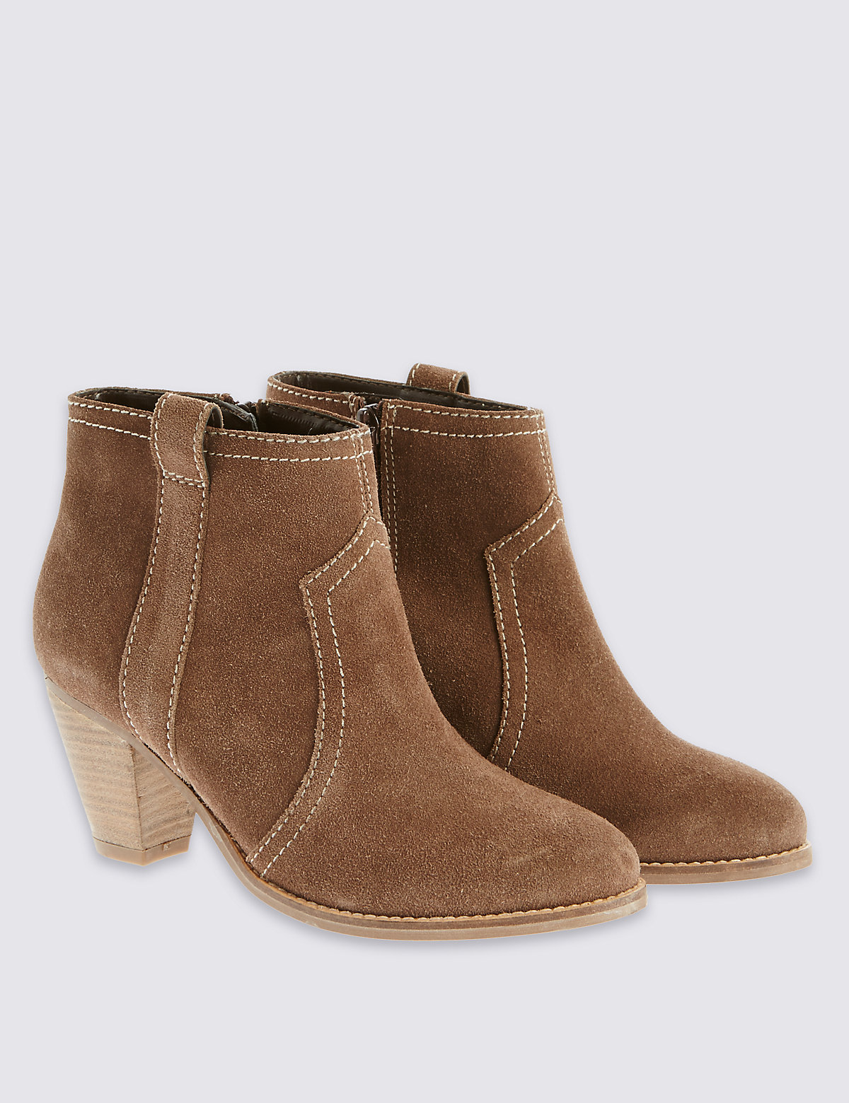 M&S Collection Suede Mid Heel Ankle Boots with Insolia
