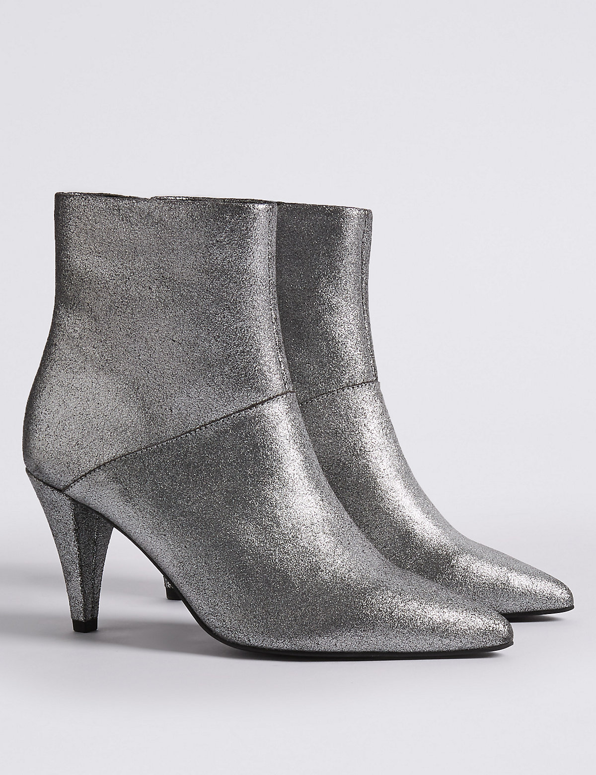 M&S Collection Leather Stiletto Pointed Ankle Boots.