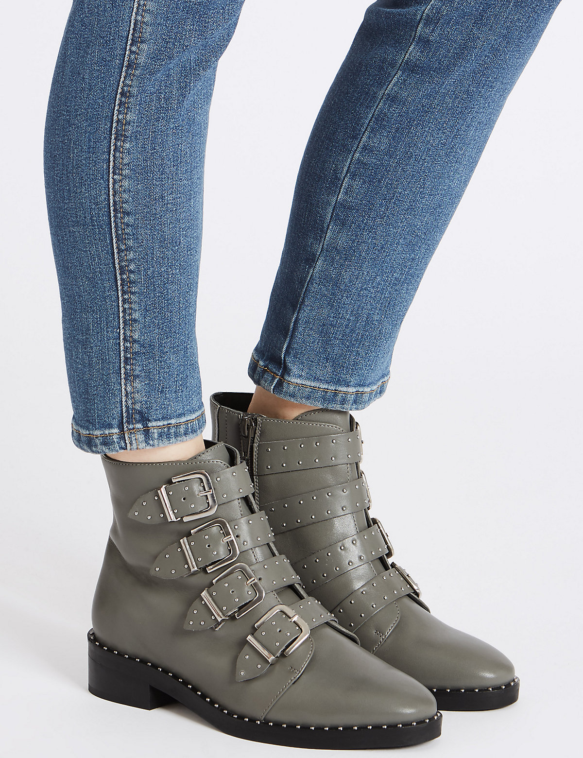 M&S Collection Leather Block Heel Multi Buckle Ankle Boots