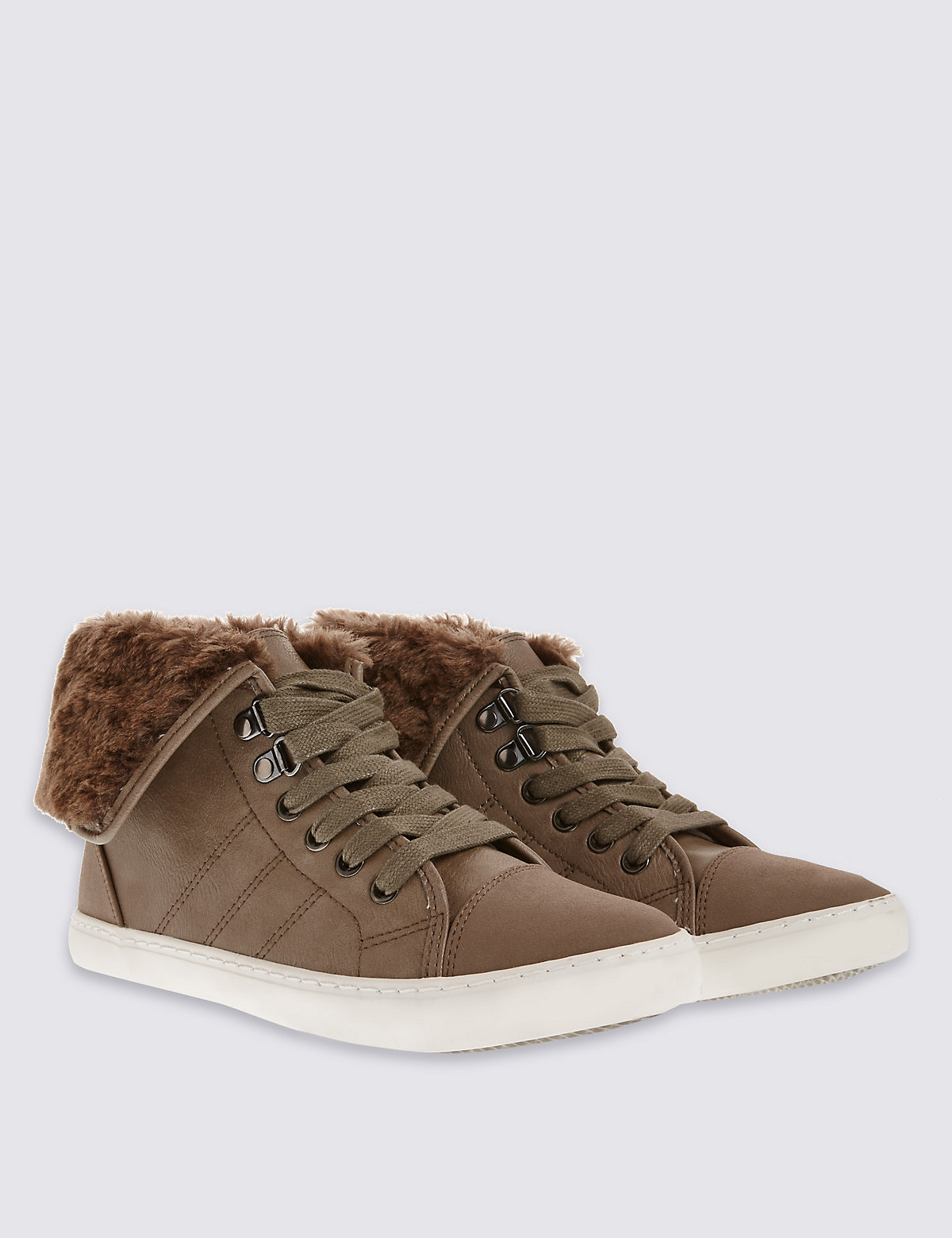 M&S Collection Lace Up High Top Trainers with Insolia Flex