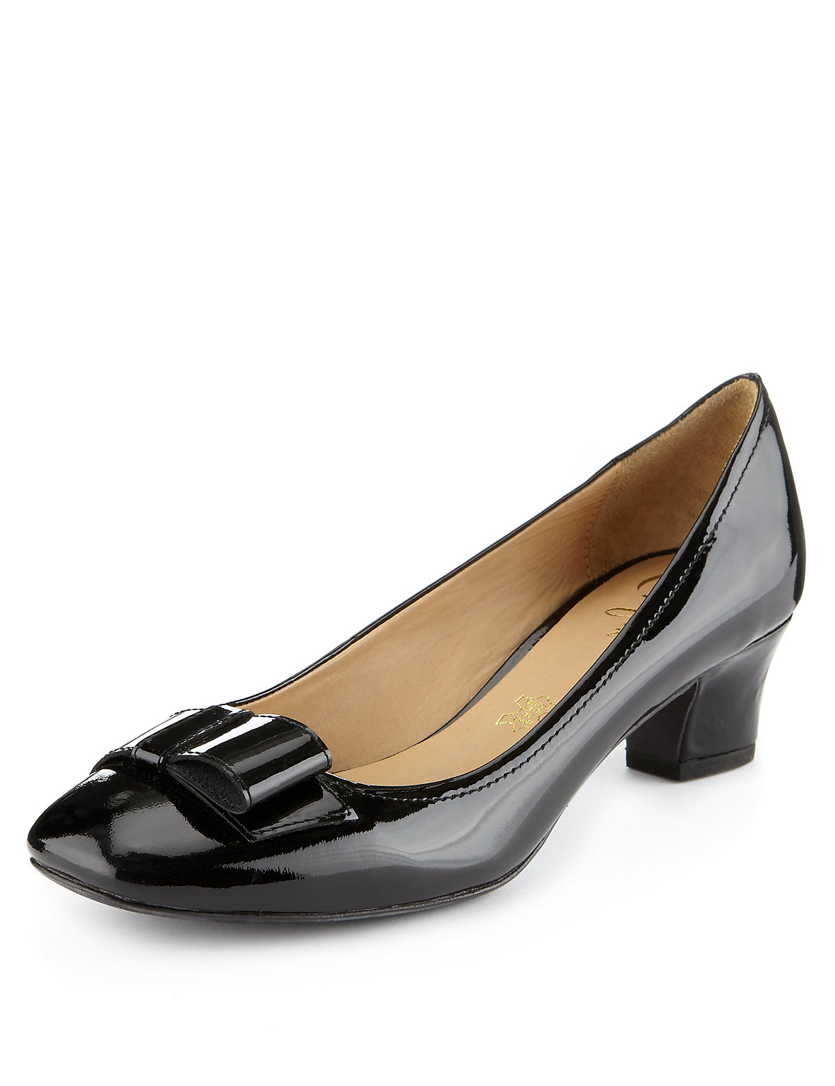 Footglove Leather Square Toe Court Shoes
