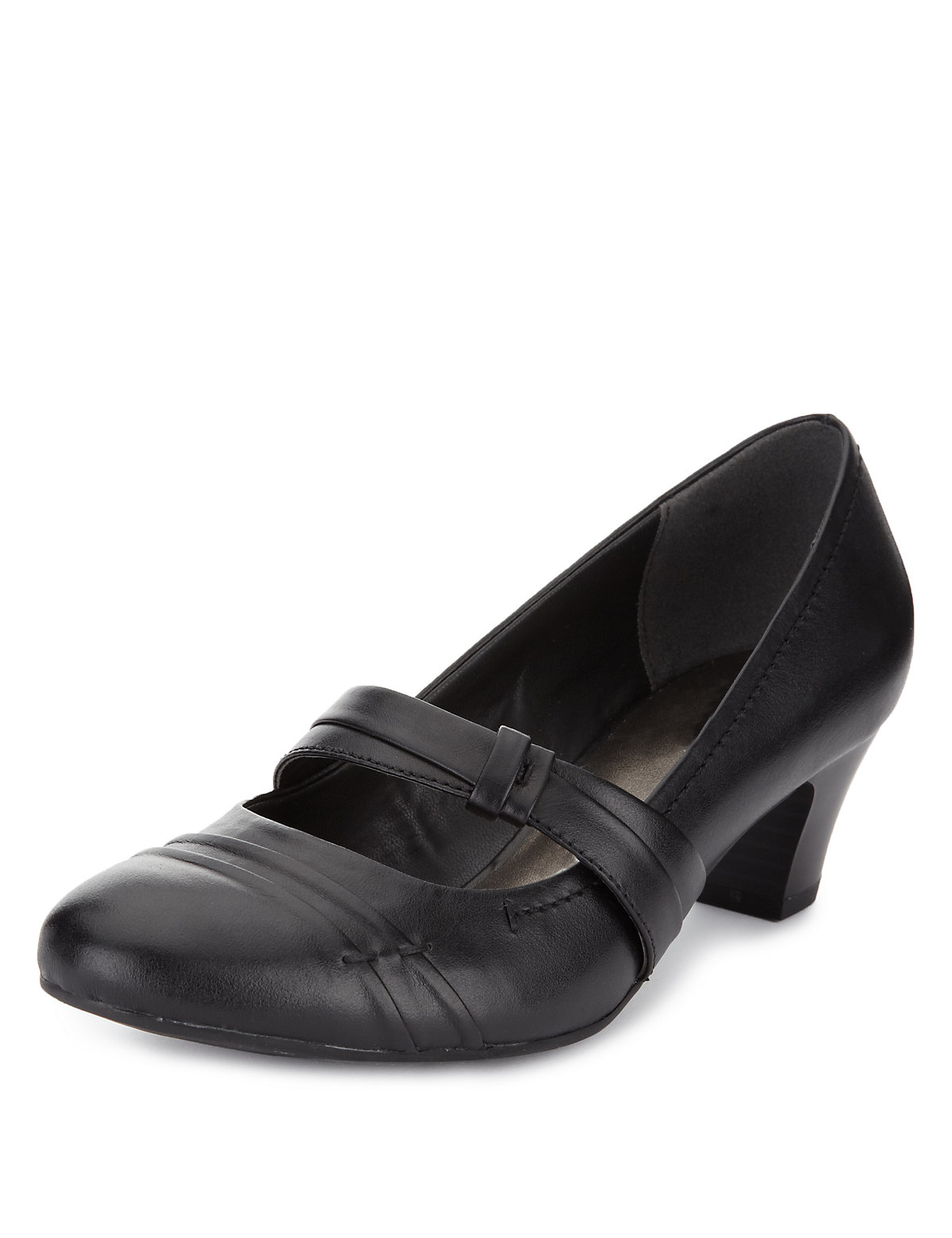 Footglove Leather Wide Fit Dolly Court Shoes