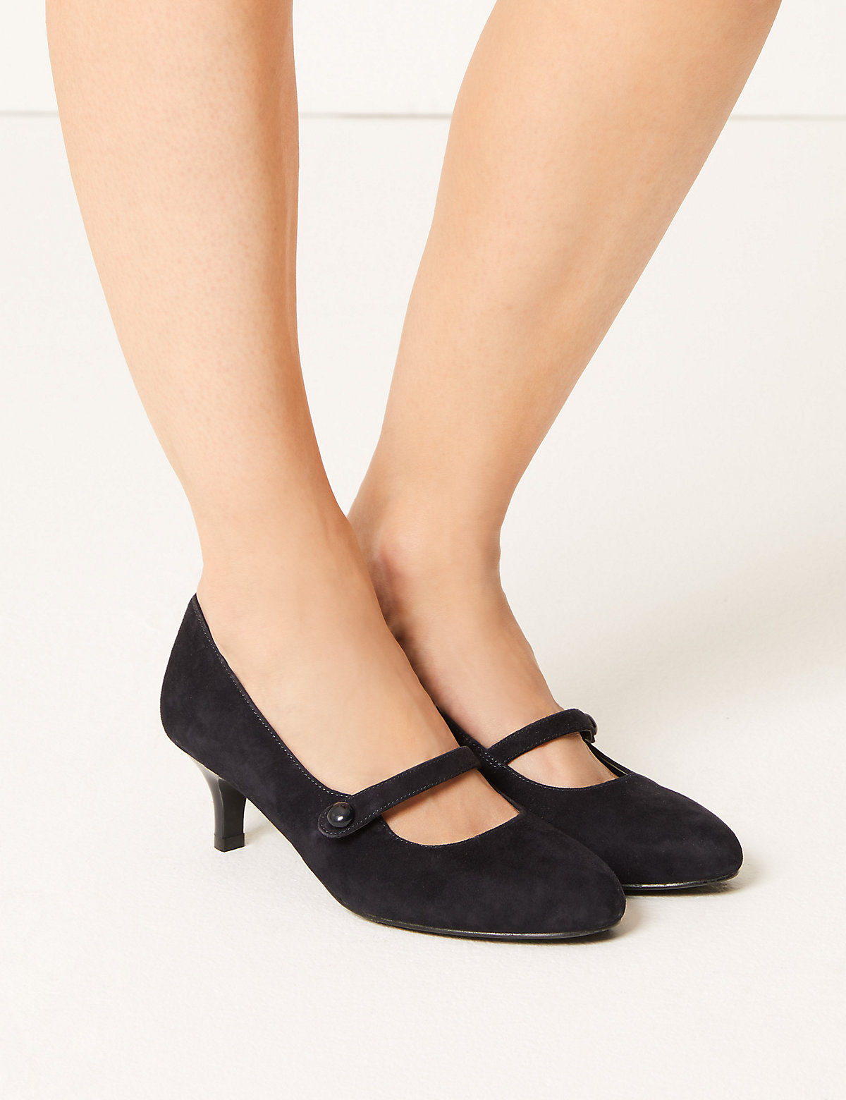 Footglove Wide Fit Suede Kitten Heel Court Shoes.