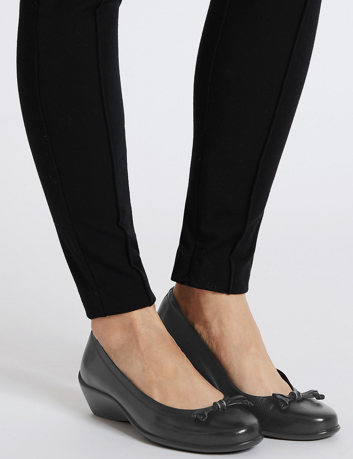 Footglove Wide Fit Leather Wedge Ballerina Pumps