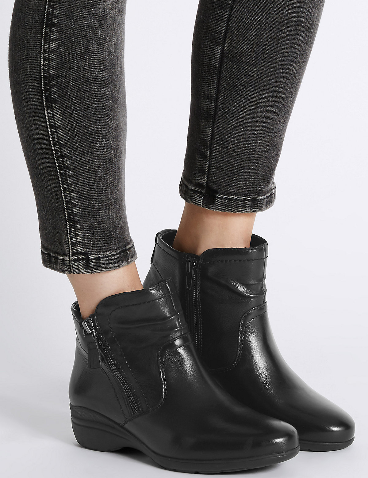 Footglove Leather Wedge Ankle Boots with Footglove