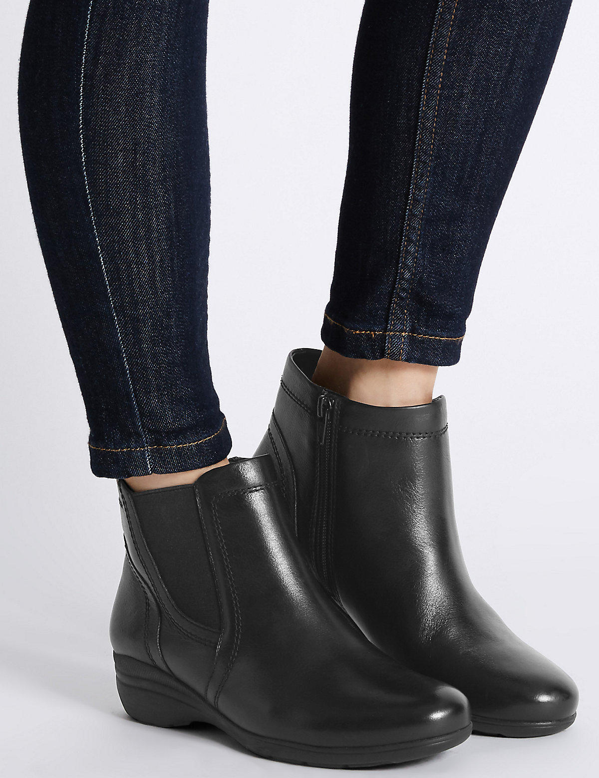 Footglove Leather Chelsea Ankle Boots with Footglove