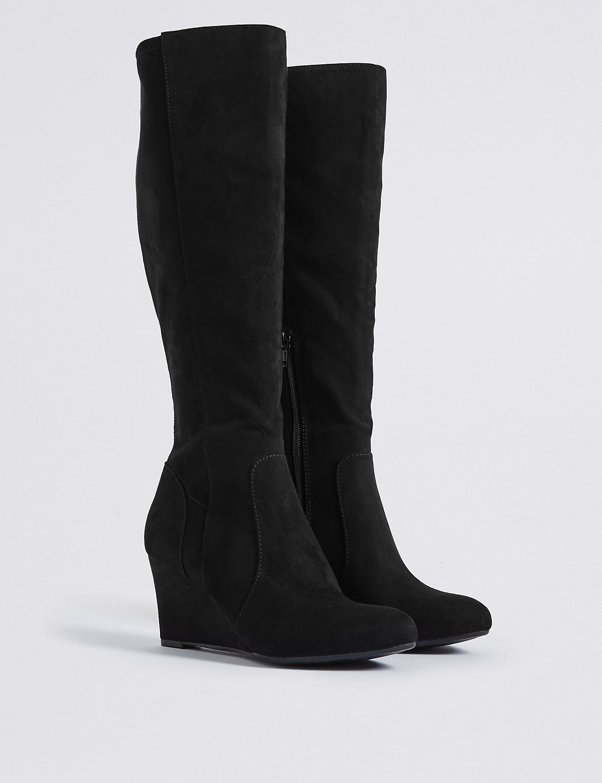 Image of M&S Collection Wedge Heel Side Zip Knee High Boots