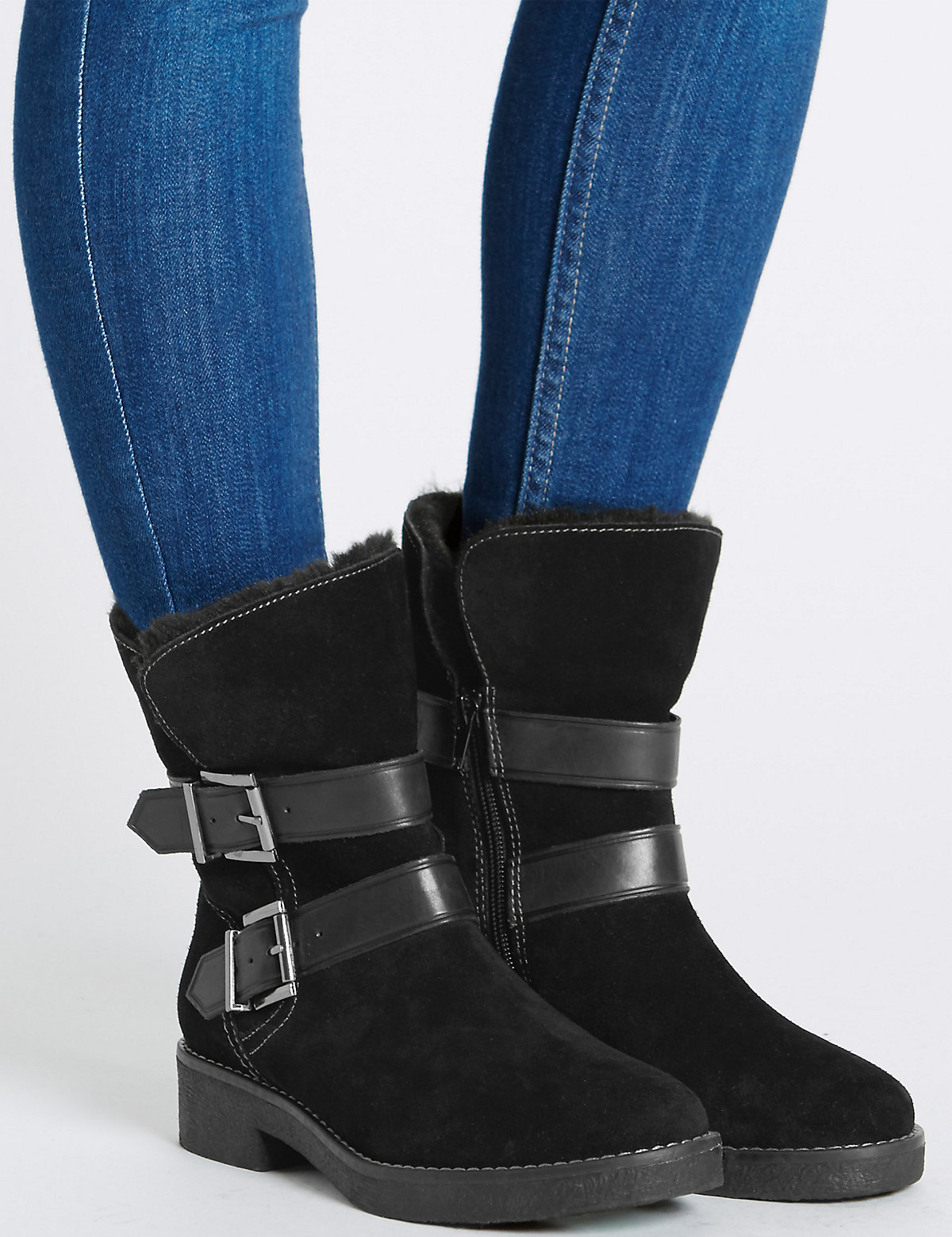 Footglove Wide Fit Suede Block Heel Ankle Boots
